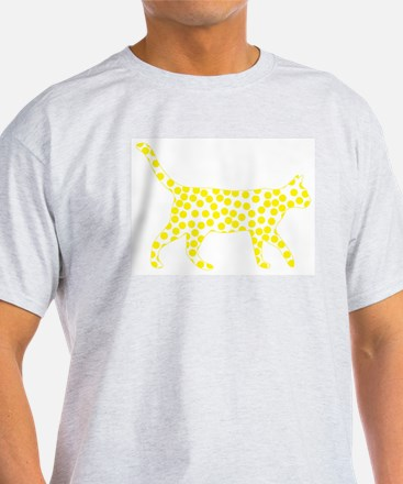 Bright Yellow Polka Dot Cat T-Shirt
