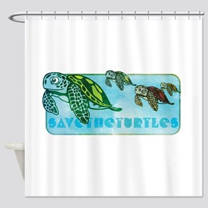 Four Turtles at Sea Shower Curtain