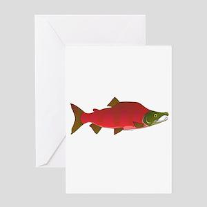 Sockeye Kokanee Salmon male f Greeting Card
