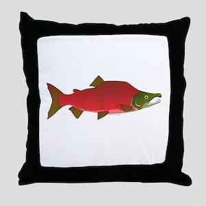 Sockeye Kokanee Salmon male f Throw Pillow