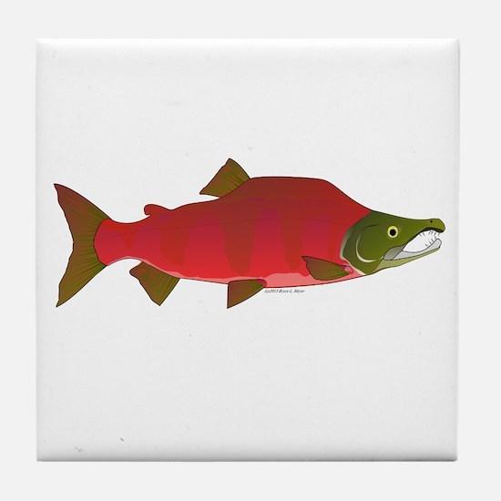 Sockeye Kokanee Salmon male f Tile Coaster