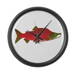 Sockeye Kokanee Salmon male f Large Wall Clock