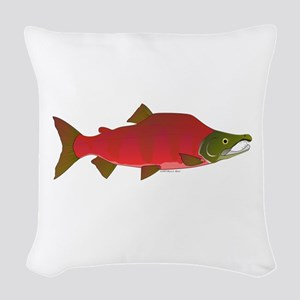 Sockeye Kokanee Salmon male f Woven Throw Pillow