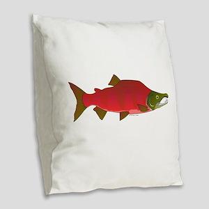 Sockeye Kokanee Salmon male f Burlap Throw Pillow