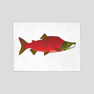 Sockeye Kokanee Salmon male f 5'x7'Area Rug