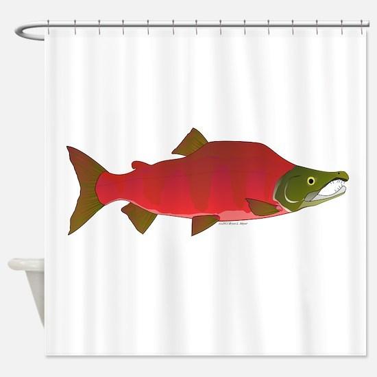 Sockeye Kokanee Salmon male f Shower Curtain