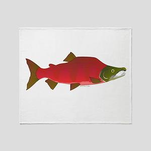 Sockeye Kokanee Salmon male f Throw Blanket