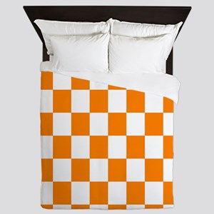 Orange and white checkerboard Queen Duvet