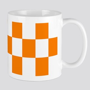 Orange and white checkerboard Mug