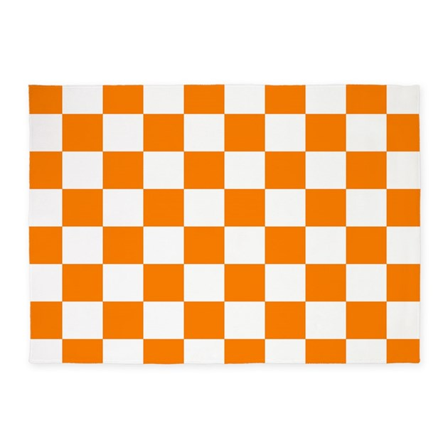 Orange And White Checkerboard 5 X7 Area Rug By