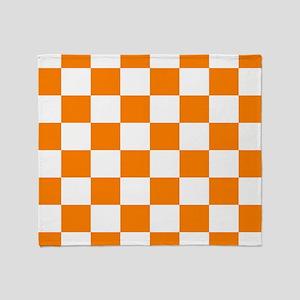 Orange and white checkerboard Throw Blanket