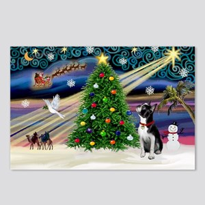 Xmas Magic/Boston Terrier Postcards (Package of 8)