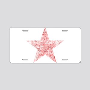 Faded Red Star Aluminum License Plate