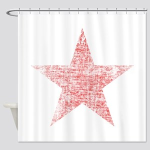 Faded Red Star Shower Curtain