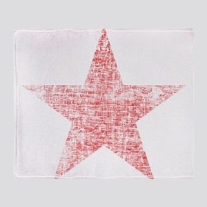 Faded Red Star Throw Blanket
