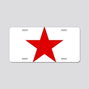 Red Star Aluminum License Plate