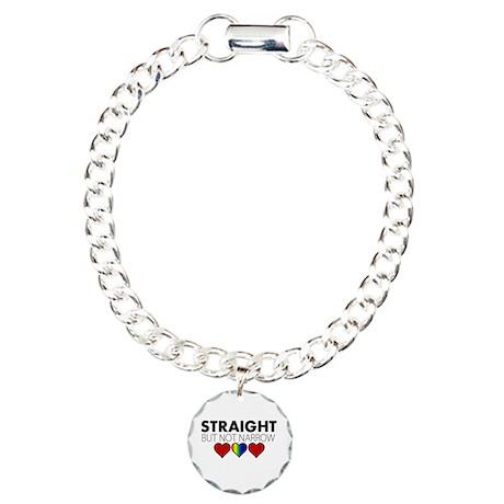 STRAIGHT but not narrow Charm Bracelet, One Charm