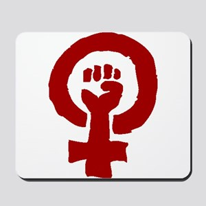 Red Feminist POWER! Mousepad