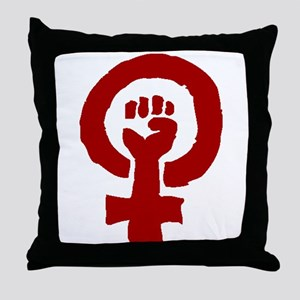 Red Feminist POWER! Throw Pillow