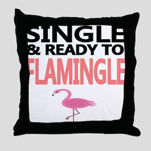 Single Ready to Flamingle Throw Pillow