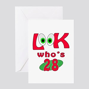 28th birthday greeting cards cafepress look whos 28 greeting card bookmarktalkfo Gallery