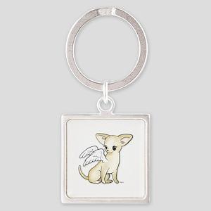 Tumbles Chihuahua Angel Square Keychain