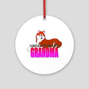 Siberian Husky Grandma Ornament (Round)