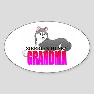 Siberian Husky Grandma Sticker (Oval)