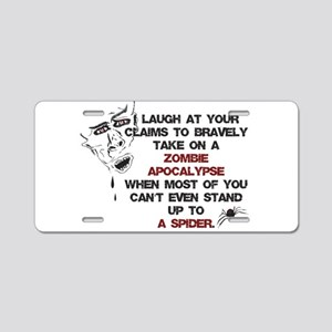 Zombies vs Spiders Aluminum License Plate