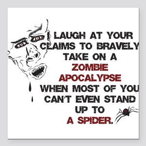 "Zombies vs Spiders Square Car Magnet 3"" x 3"""