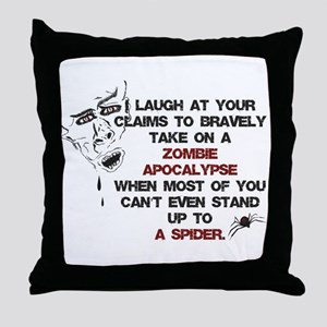 Zombies vs Spiders Throw Pillow
