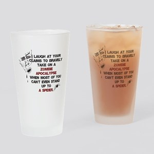 Zombies vs Spiders Drinking Glass
