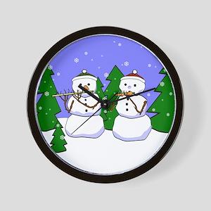 Flute & Piccolo Snowmen Wall Clock