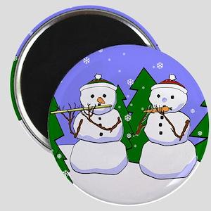 Flute & Piccolo Snowmen Magnet