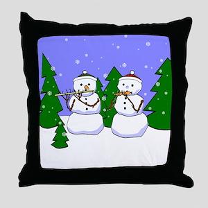 Flute & Piccolo Snowmen Throw Pillow