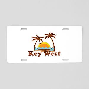 Key West - Palm Trees Design. Aluminum License Pla