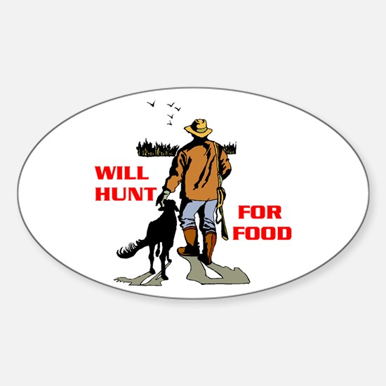 HUNT FOR FOOD Oval Decal