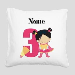 Superhero Girl 3 Square Canvas Pillow