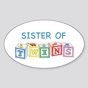 Sister of Twins Blocks Oval Sticker