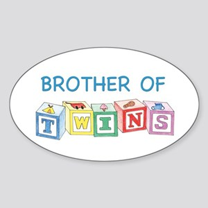 Brother of Twins Blocks Oval Sticker