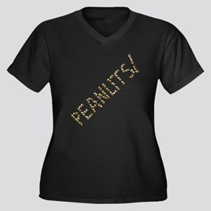 Peanuts! Women's Plus Size V-Neck Dark T-Shirt
