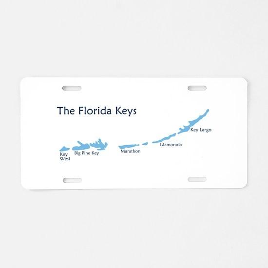 Florida Keys - Map Design. Aluminum License Plate