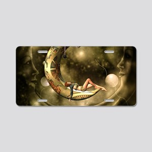 Steampunk lady in the night with moons Aluminum Li