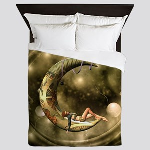 Steampunk lady in the night with moons Queen Duvet