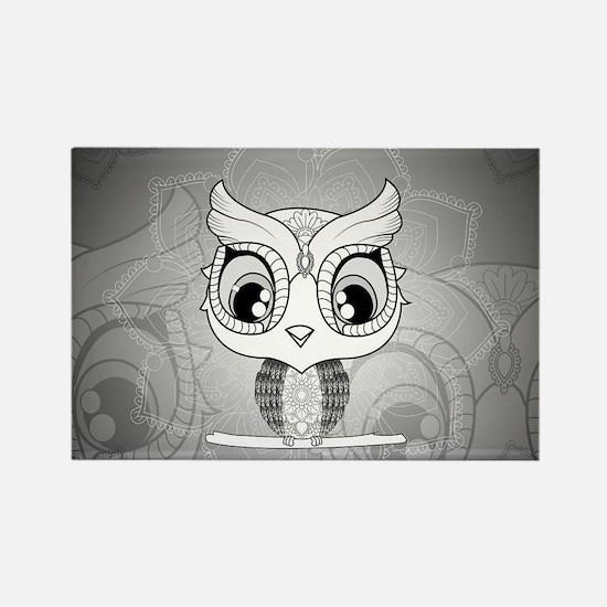 Cute owl, mandala design in black and white Magnet