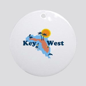Key West - Map Design. Ornament (Round)