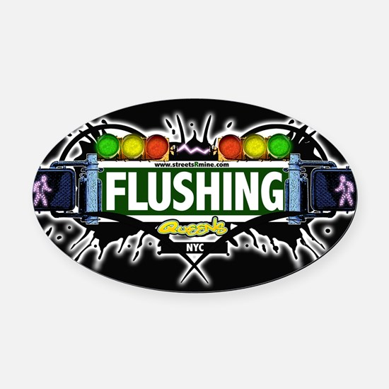 Flushing , Queens NYC (Black) Oval Car Magnet
