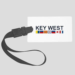Key West -Nautical Flags. Large Luggage Tag