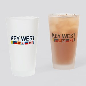 Key West -Nautical Flags. Drinking Glass