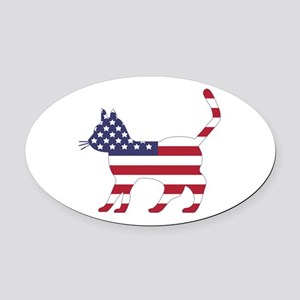 US Flag Cat Icon Oval Car Magnet